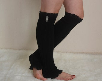BS5339- Black cable knit lace leg warmers chunky leg warmers boot socks over the knee socks birthday gifts christmas gifts