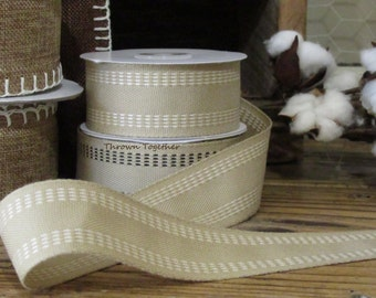 "Cream Twill Stitched Ribbon ~5 yrds~Natural/Cream~1 1/2""~ wide Gift Wrapping, Christmas Ribbon, Holiday Decor, Bows, Fall, Rustic Holiday"