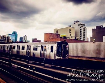 NQR Train in Queens New York City - Grungy Urban Subway Photography - Home DEcor