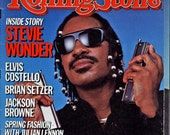 Vintage 1986 Rolling Stone Magazine - Stevie Wonder Cover - Elvis Costello, Jackson Browne Great Ads Great Articles Hey 60's Kids #31