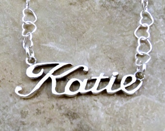 Sterling Silver Name Necklace - Katie  - on Sterling Silver Heart Chain in Length of Choice -1836