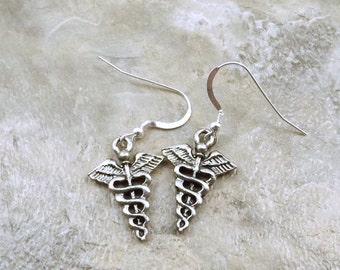 Pewter Caduceus Charms on Sterling Silver French Hook Dangle Earrings - Free Shipping in the US - (0040)