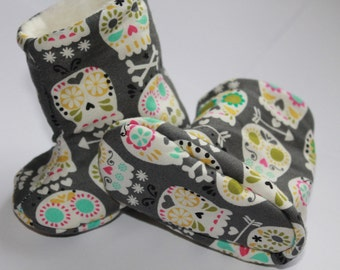 Sugar Skull Baby Booties Grey and Multi