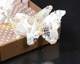 Ivory Lace Butterfly Hair Pins, Wedding Hair Accessories, Bridal Hair pins, Bridal Headpieces, set of four ( 4)
