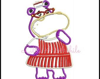 Hallie Hippo Applique Embroidery Design Doc Mcstuffins Instant download 4 sizes