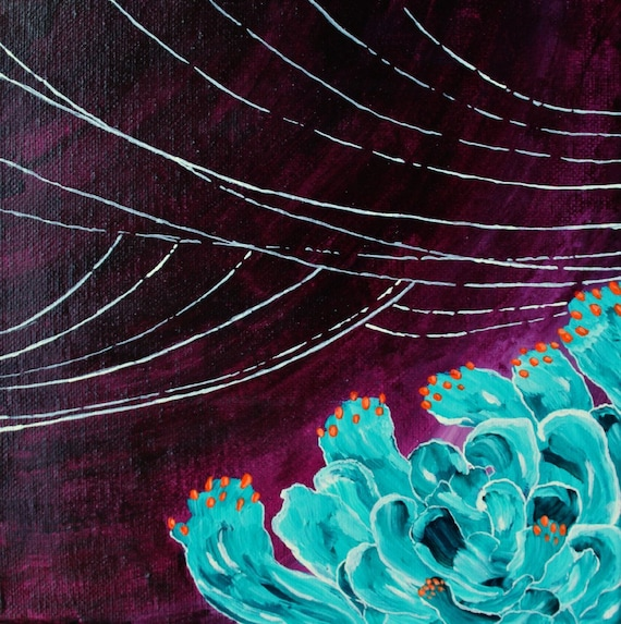 Teal Cactus  - 8x8 original acrylic painting purple white teal orange, teal flower painting, teal and purple, acrylic painting