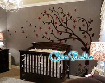 Windy Tree Wall Decal with stars, Cherry blossom,Nursery Wall Decal Wall Sticker ,wall decor