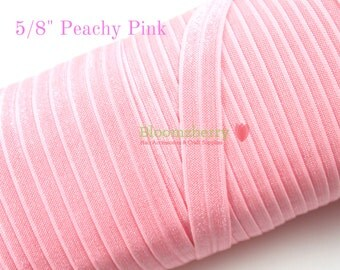 """5/8"""" Fold Over Elastic - Peachy Pink Color - Pink Elastic Fold Over - Pink Elastic - Headband- Hair Accessories Supplies"""