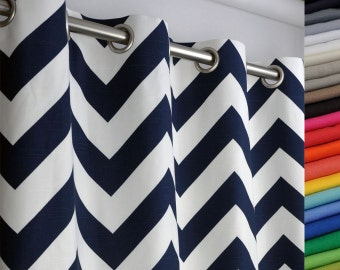 Grommet Curtain In Navy Blue And White Large Chevron Zig
