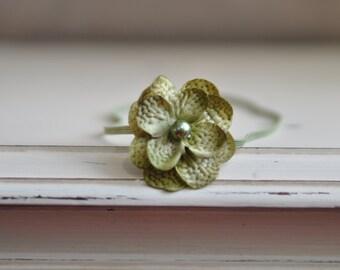 Olive Green Baby Headband. Hydrangea Flower Headband. Photography Headband. Olive Headband