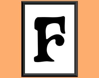 Typography DIGITAL PRINT Monogram Initial Wall Art Sixties Letter F 5x7