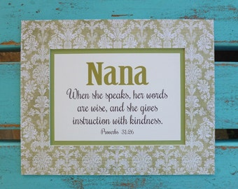 Mothers Day, gift for, Mimi, Nana quote, Grandma, proverbs 31