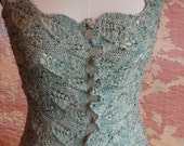 RESERVED FOR FEMKE Romantic Seaglass Corset Bodice Cardigan in Hand knit Lace