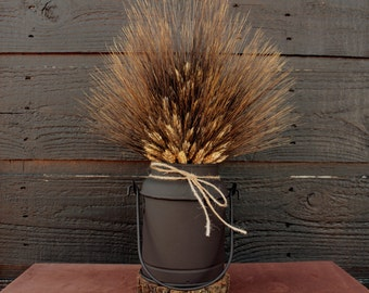 Unique Country Farmhouse Vintage Milk Container with Dried Wheat Bundle, Country Black Bearded Wheat Centerpiece, Rustic Wheat Arrangement