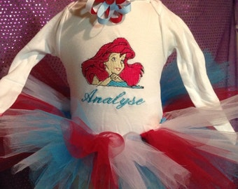Personalized little mermaid tutu outfit
