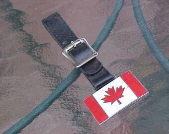 Vintage Canadian Maple Leaf Leather Watch Fob USA Made Unique Scarce Memorabilia Montreal Quebec Toronto Canada