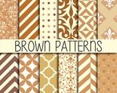 Instant Download - Set of  12 Digital Scrapbook Paper - Cream & Brown - 12 x 12 inches