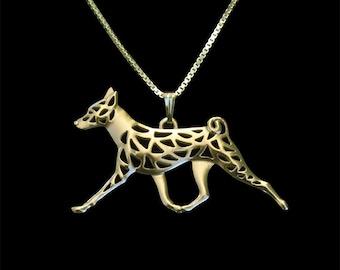 Basenji movement - Gold pendant and necklace
