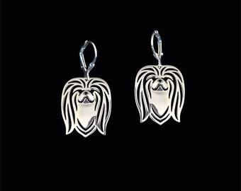 pekingese earrings - Sterling silver.