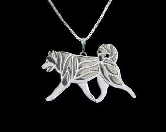 Alaskan Malamute movement jewelry - sterling silver pendant and chain.
