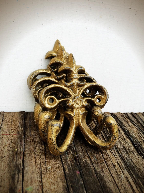 Antique gold fleur de lis double wall hooks towel coat - Fleur de lis coat hook ...