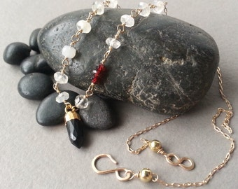 Gold Black Pendant Necklace Gold-Dipped Onyx Spike Red Garnet Frost White Moonstone Gold Filled Rosary Chain Beaded Link Modern Elegant
