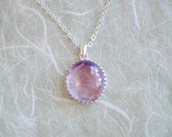 Soft Lavender Glass Bubble Necklace.  Argentium silver bezel and chain.