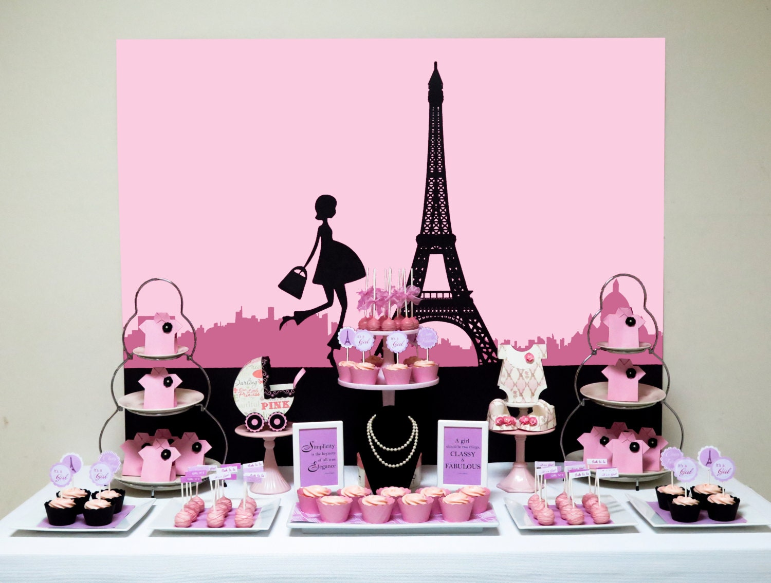 printable pink paris themed baby shower backdrop digital