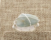 Genuine Aquamarine Slab Wire Wrapped Ring