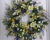 Summer wreath, front door wreath, summer door wreath,  door wreath, outdoor wreath, cottage wreath, spring wreath, summer decoration, wreath