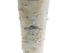 "Birch Bark Vase Tall Rustic 9"" Vase Wood Wrapped Planter Wedding Centerpiece Birch and Zinc Flower Pot"