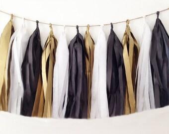 Black, white and gold tassel garland, tissue tassel  tuxedo black and white for weddings, holidays, formal decor