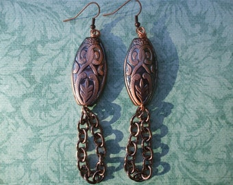 Rose Gold and Charcoal, Chain Earrings