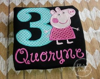 Peppa Pig Birthday Custom Tee Shirt - Customizable -  Infant to Youth 176