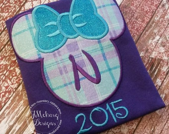 Plaid Miss Mouse Custom embroidered Disney Inspired Vacation Shirts for the Family! 992 purple