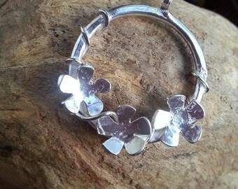 Flower Silver Pendant Sterling Silver Flower Hoop Pendant Vine Pendant