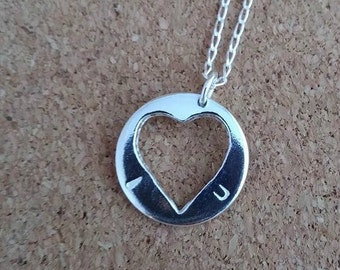 Heart necklace, Heart jewelry, Heart pendant, Silver heart, Gift for her
