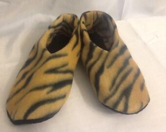 Tiger Print Fleece Booties/Slippers