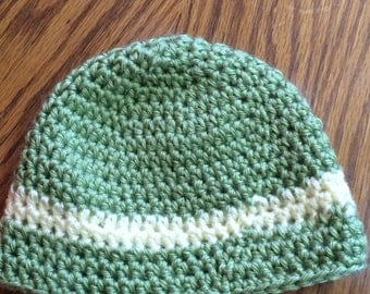 Handmade Crochet Green and Yellow Baby Hat Size 3-6 months
