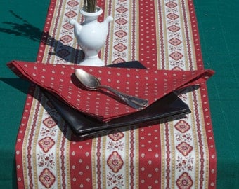"Cotton  table  Runner . Fabric from Provence , France.Esterel terra cotta 42"" up to 94'' long. Matching napkins."