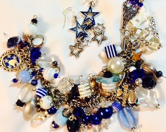 Dallas Cowboys Charm Bracelet with Matching Earrings, 925 Sterling Silver with Charms and Beads Galore!  Blue and Silver NFL Jewelry