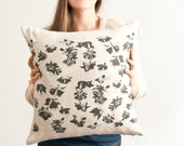 Star anise throw pillow, watercolor abstract painting of spice in black
