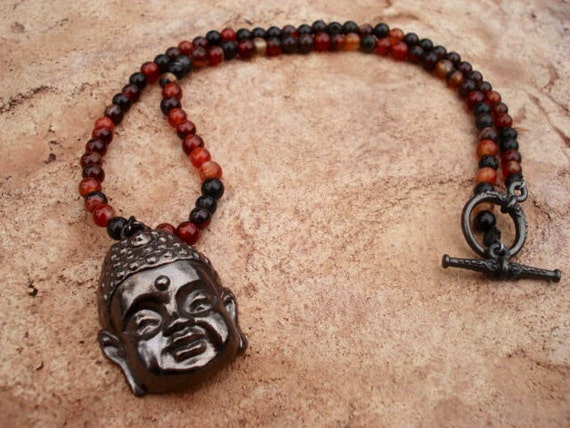 Buddha Necklace, Agate Gemstone Beaded Necklace, Fancy Toggle Necklace, Buddha Jewelry, Spiritual Yoga Healing Necklace, One Of A Kind, OOAK
