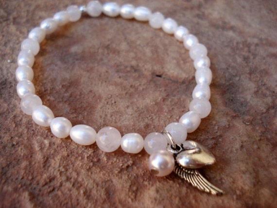 Freshwater Pearl Bracelet, Moonstone Bracelet, Wedding Bracelet, Beaded Bracelet, Silver Charm Bracelet, Pearl Bracelet, Women's Bracelet