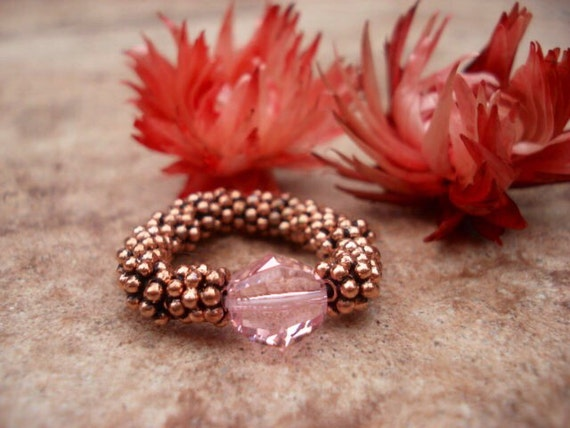 Pink Swarovski Crystal Ring, Women's Ring, Copper Beaded Ring, Adjustable Ring, Stretch Ring, Gift For Her, Gemstone Ring