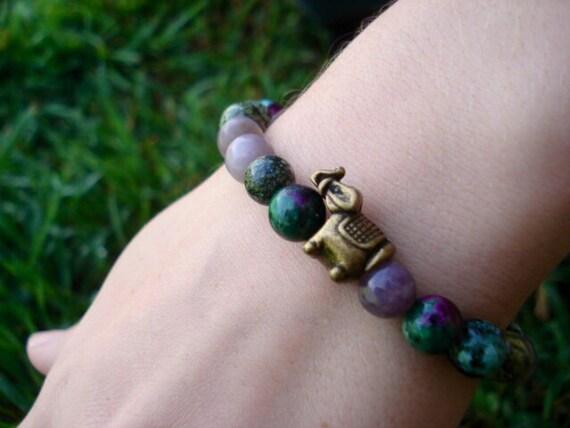 Elephant Charm Bracelet, Ruby Zoisite Bracelet, Lavender Quartz Bracelet, Beaded Gemstone Bracelet, Yoga Mala Bracelet, Women's Bracelet