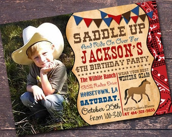 Western Party Invitation, Cowboy Party Invitation, Western Birthday Invitation, Custom Invitation by Bloomberry Designs