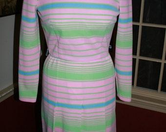Striped Turtleneck Dress/ Vintage Pink Dress