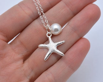 Set of 5 Bridesmaid Starfish Necklaces, 5 Starfish Necklaces, Starfish and Pearl Necklaces, Bridesmaid Necklaces, Beach Wedding 0199