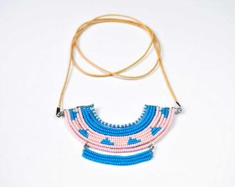 Handmade Tribal Geometric Beaded Bib Necklace in Pink & Blue